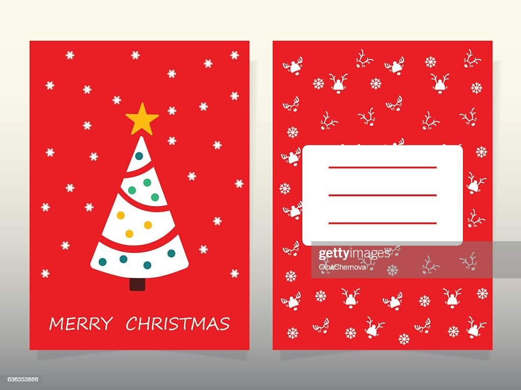 Design Christmas Cards 2017 Tree Santa And Deer Symbols Of Vector
