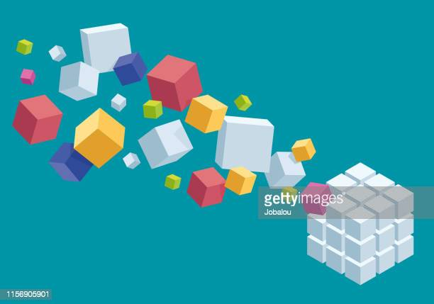 design composition of a chaotic and organized coloured cubes - bloco stock illustrations