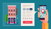 Design concept of hotel search and booking online. Hotel building detailed and reservation application interface. Hand holding smart phone. Vector illustration.