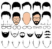 Design constructor with man head vector silhouette shapes of haircuts