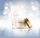 Design cosmetics product advertising. Vector illustration