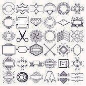 Design Decoration Elements Set 4. Outline Vector Illustrations.