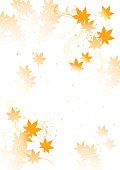 A design drawing that a beautiful autumn leaves falls down