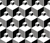 design element.  black and white hexagons seamless pattern