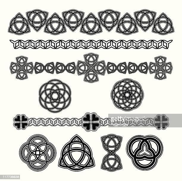 design element for st. patrick's day - celtic cross stock illustrations, clip art, cartoons, & icons