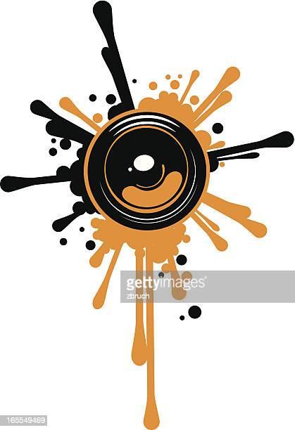 design element of a speaker blasting paint splatters - bass instrument stock illustrations, clip art, cartoons, & icons