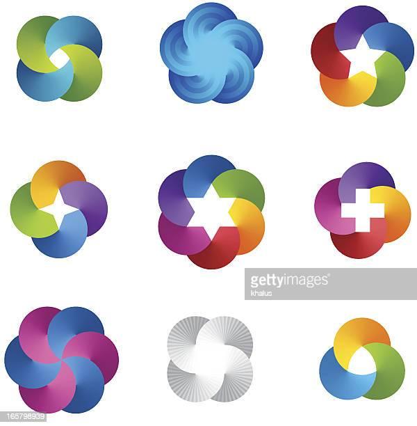 デザイン要素/抽象記号 - 組み合わさる点のイラスト素材/クリップアート素材/マンガ素材/アイコン素材