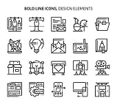 Design elements, bold line icons