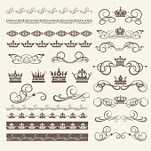 Design Elements, Border, Frame and Swirls. Vector image