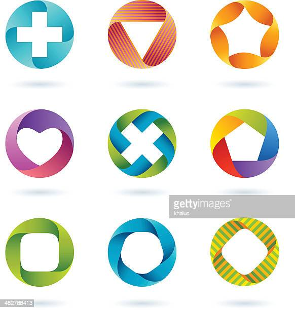 design elements | circle set #3 - road intersection stock illustrations