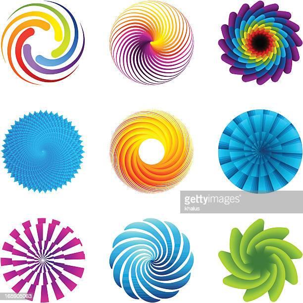 design elements | circles set - vortex stock illustrations, clip art, cartoons, & icons