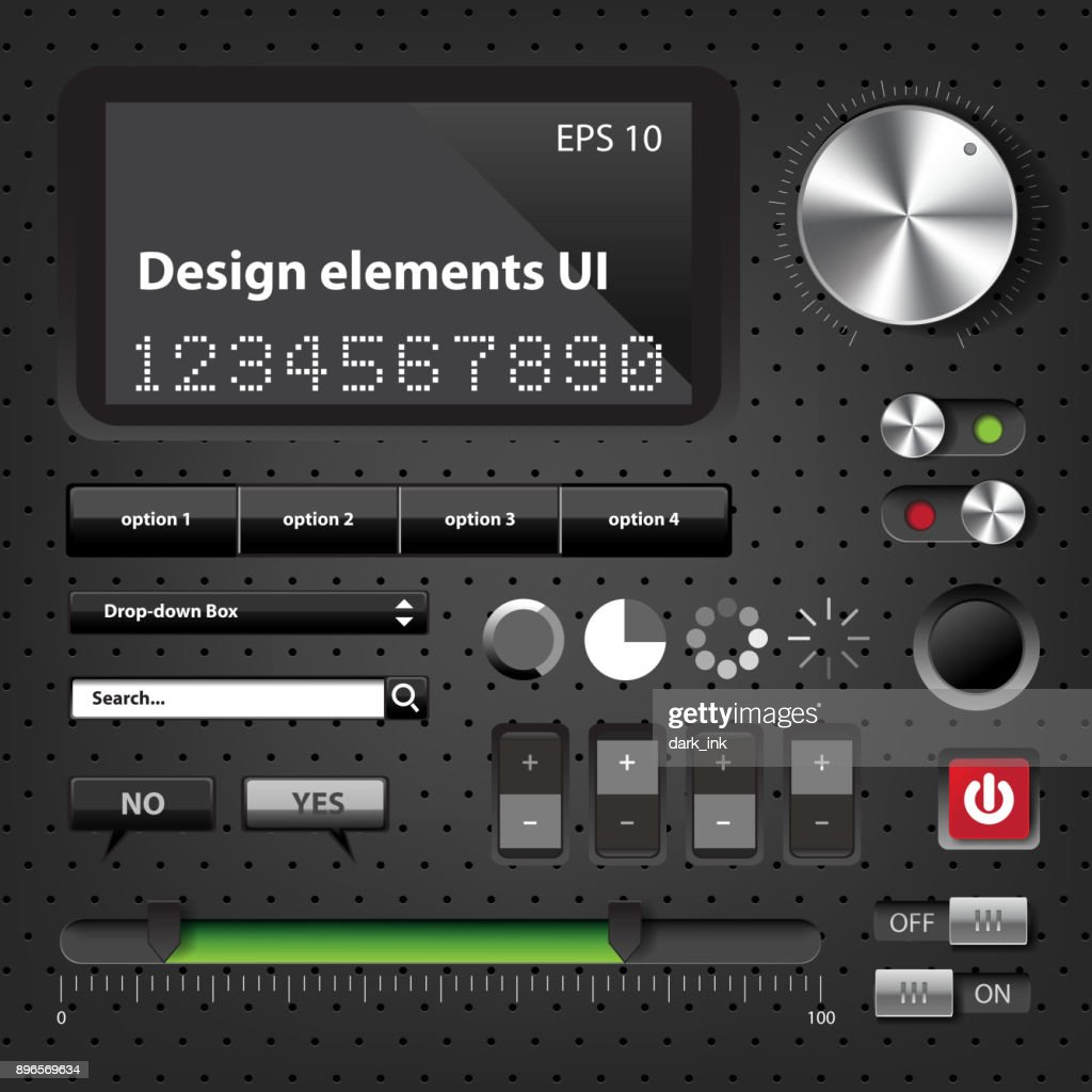 Design elements Dark User Interface Controls
