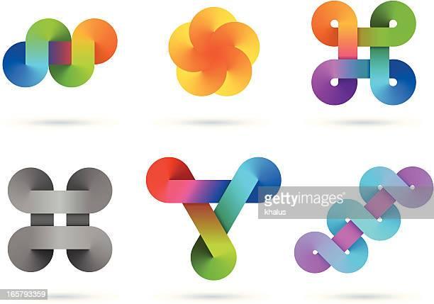 design elements | infinity gradient set - infinity stock illustrations