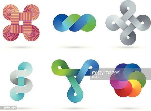 design elements | infinity gradient set - road intersection stock illustrations