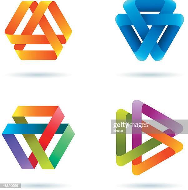 デザイン要素/インフィニティスポーツトライアングル - 組み合わさる点のイラスト素材/クリップアート素材/マンガ素材/アイコン素材