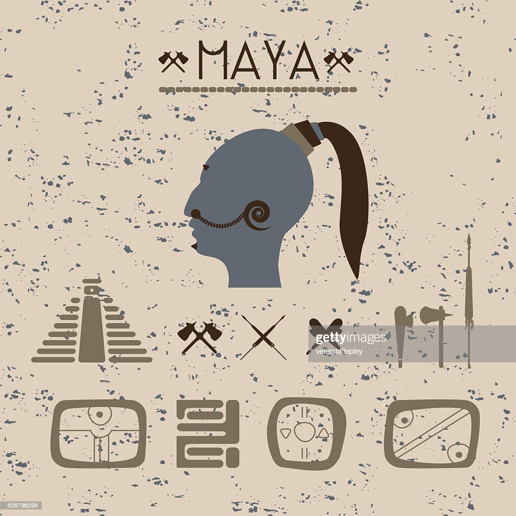 Design elements mystical signs and symbols of the Maya.