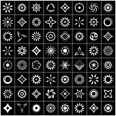 Design elements set. 64 white icons on black background.