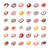 Design elements set. Abstract icons in warm colors.