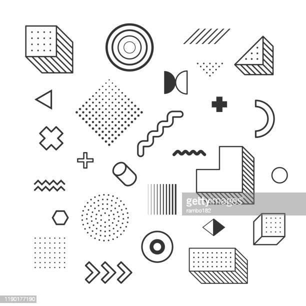 design elements set. geometric shapes. vector illustration. vector background. - 1990 1999 stock illustrations