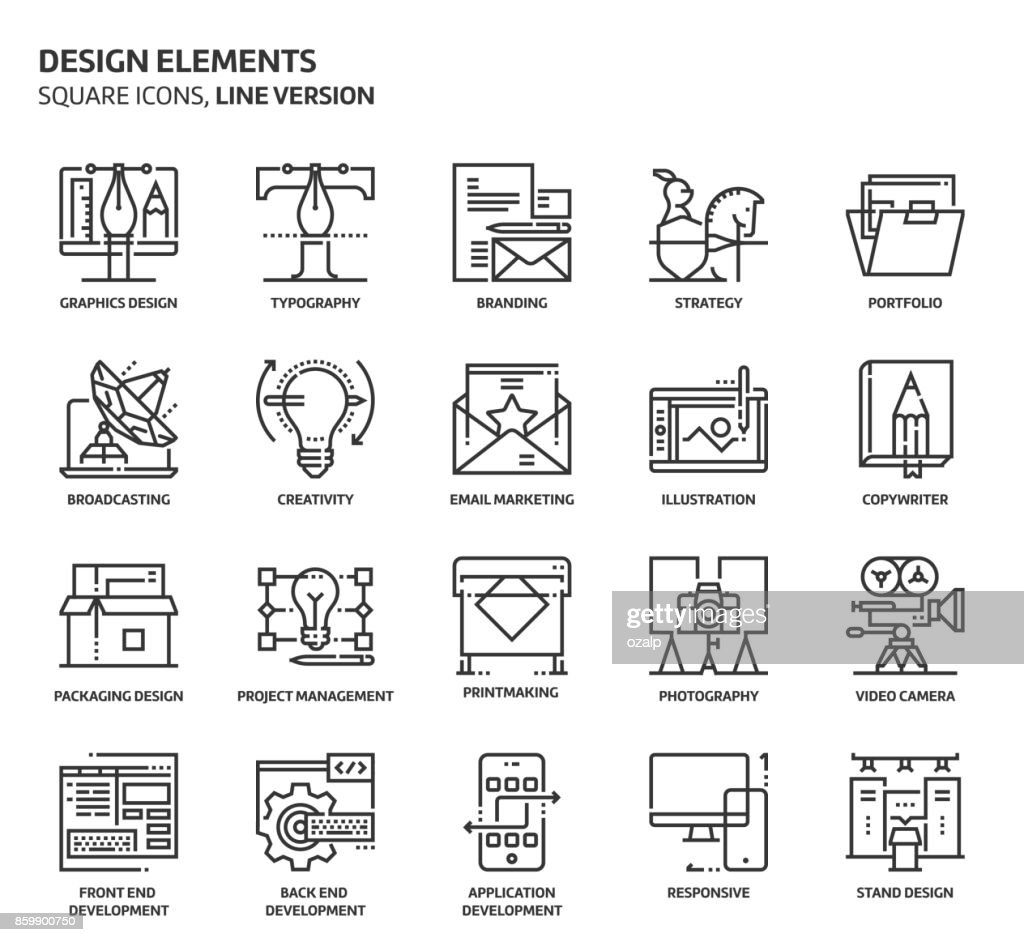 Design elements, square icon set