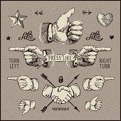 Design elements - thumb up, pointer, handshake.