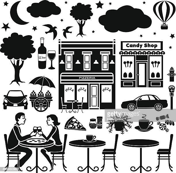 design elements with an outdoor cafe in the evening theme - parking meter stock illustrations