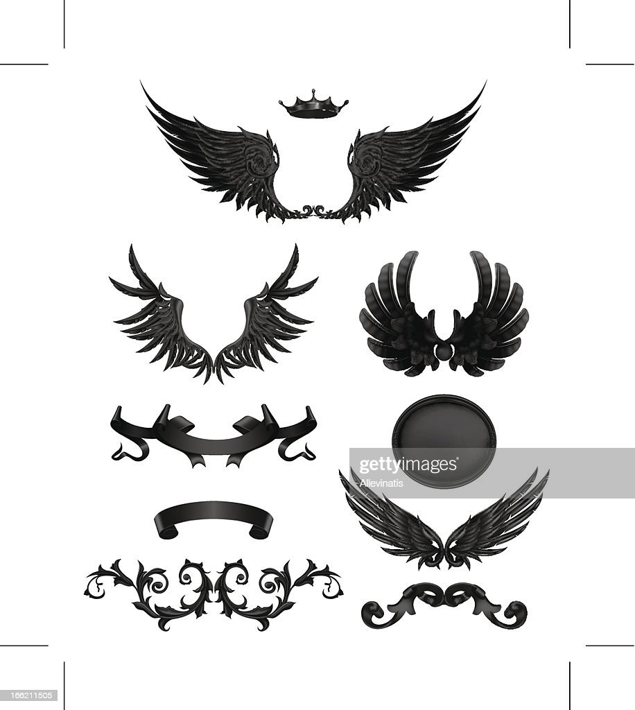 Design elements with wings