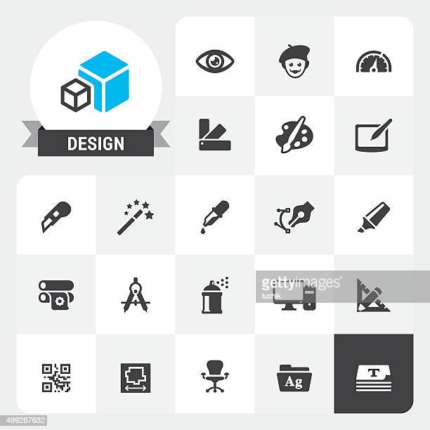 design equipment base vector icons and label - pipette stock illustrations, clip art, cartoons, & icons