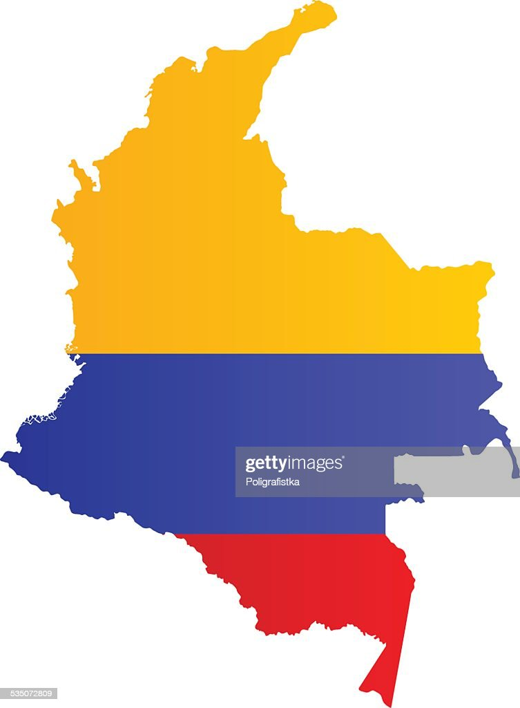 Design Flag-Map of Colombia : stock illustration