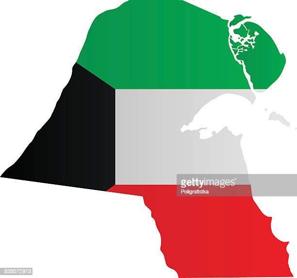 design flag-map of kuwait - kuwait stock illustrations, clip art, cartoons, & icons