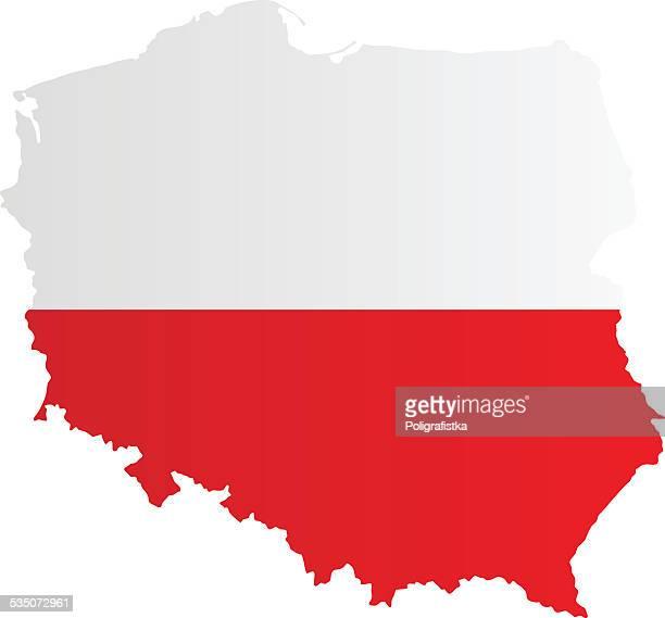design-flagge karte von polen - polnische flagge stock-grafiken, -clipart, -cartoons und -symbole