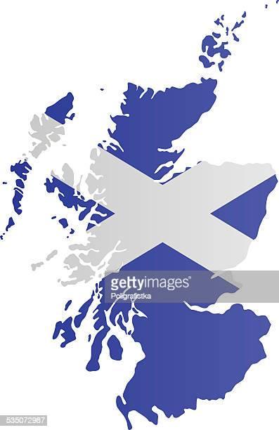 design-flagge karte von schottland - scotland stock-grafiken, -clipart, -cartoons und -symbole