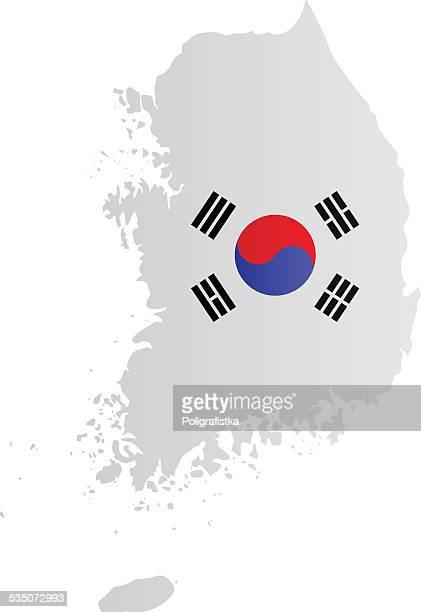 illustrations, cliparts, dessins animés et icônes de conception de drapeau et carte de la corée du sud - corée du sud