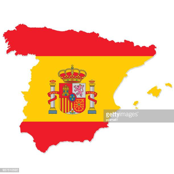 design flag-map of spain - country geographic area stock illustrations, clip art, cartoons, & icons