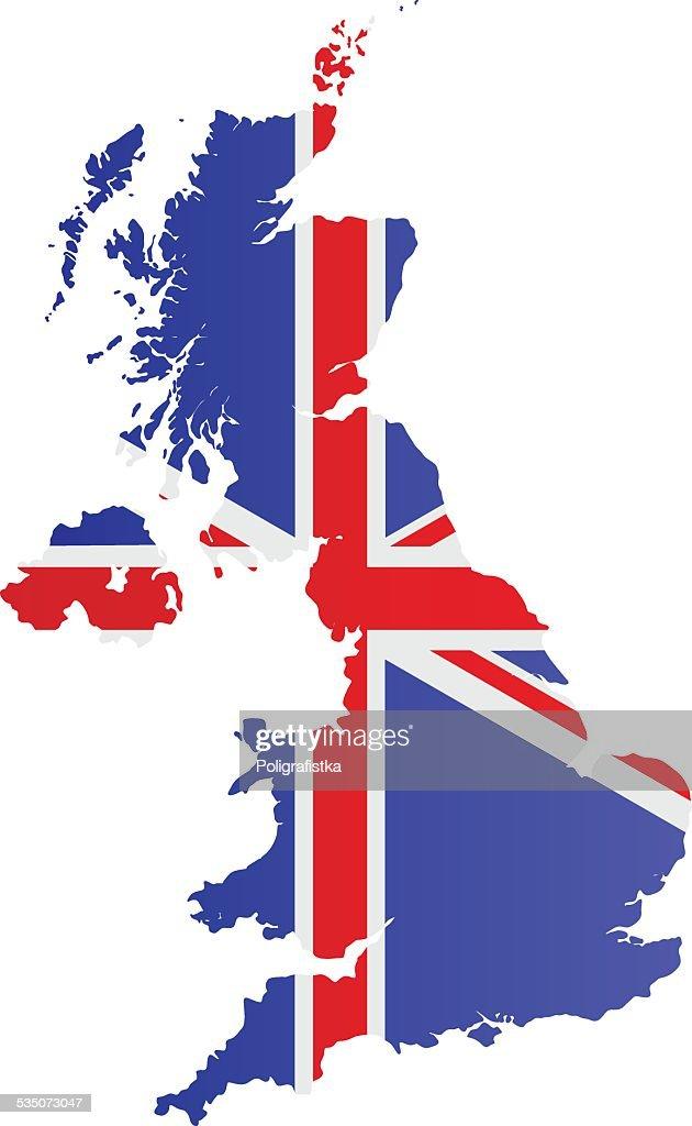 Design Flag-Map of United Kingdom : stock illustration
