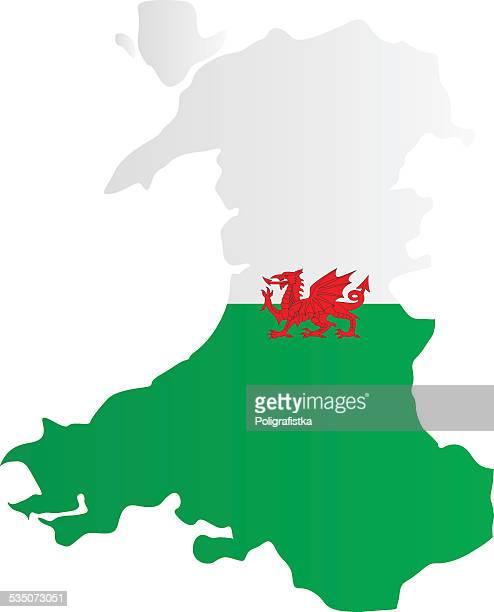 design flag-map of wales - welsh flag stock illustrations