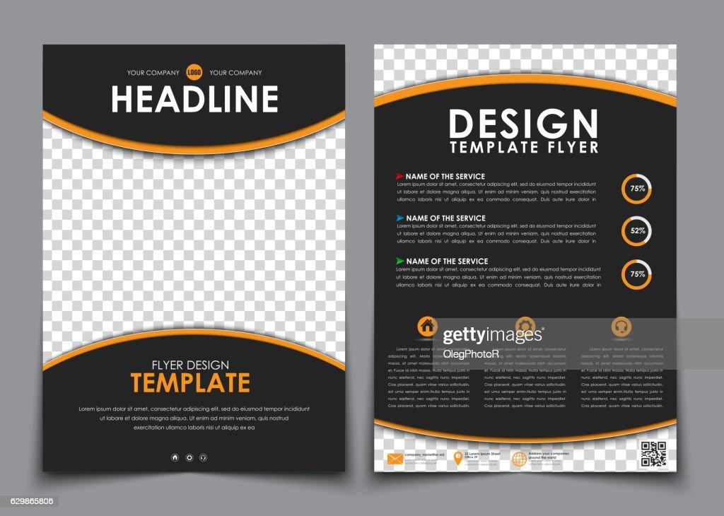 Design flyers black with orange elements. Brochure templates wit
