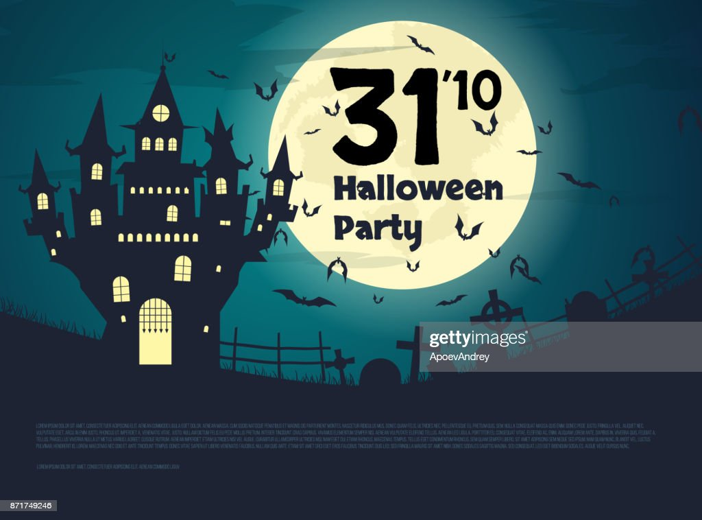 Design flyers for Halloween party. A large castle with a cemetery at night. Inscription on the background of the moon. A flock of bats