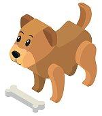 3D design for cute puppy and bone