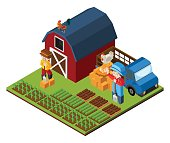 3D design for farm scene with farmer and barn
