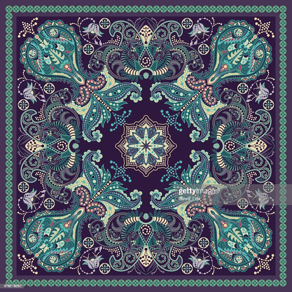Design for square pocket, shawl, textile. Paisley floral pattern : Vector Art