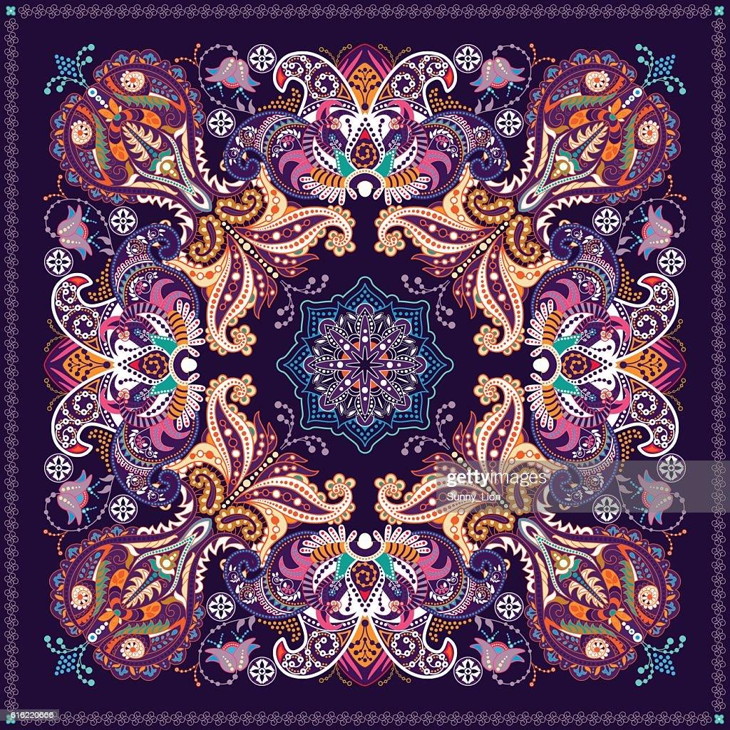 設計、スクエアポケット、ショール、テキスタイルます。ペイズリー花柄 : ベクトルアート