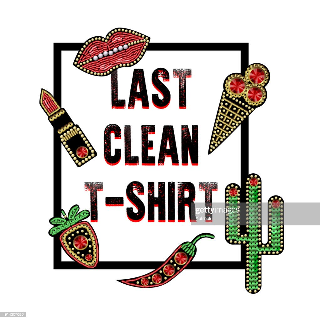 Design for t-shirt with patches with sequins and beads. Lips, cactus, lipstick, berry, ice cream stickers.