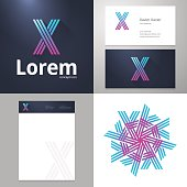 Design icon X element with Business card and paper template