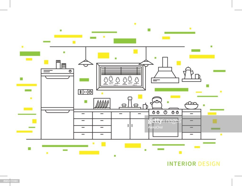 Design illustration of modern designer kitchen interior space