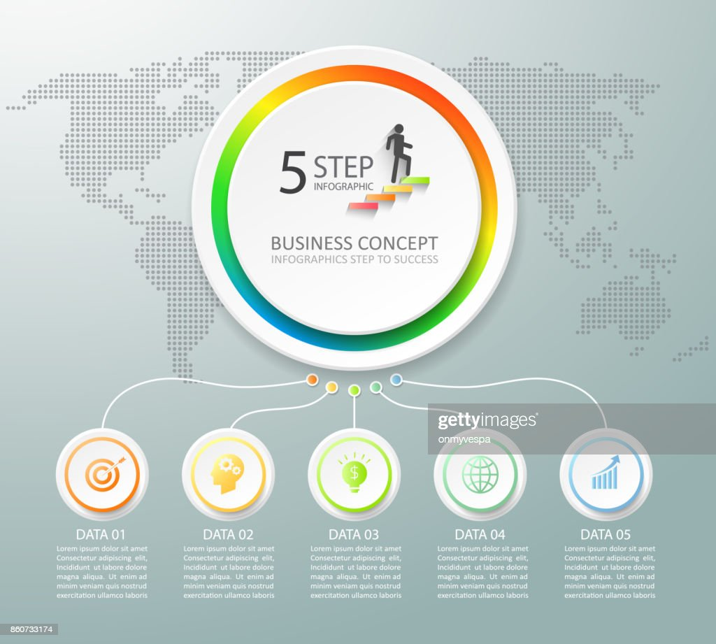 Design Infographic Template 5 Options Can Be Used For Workflow ...