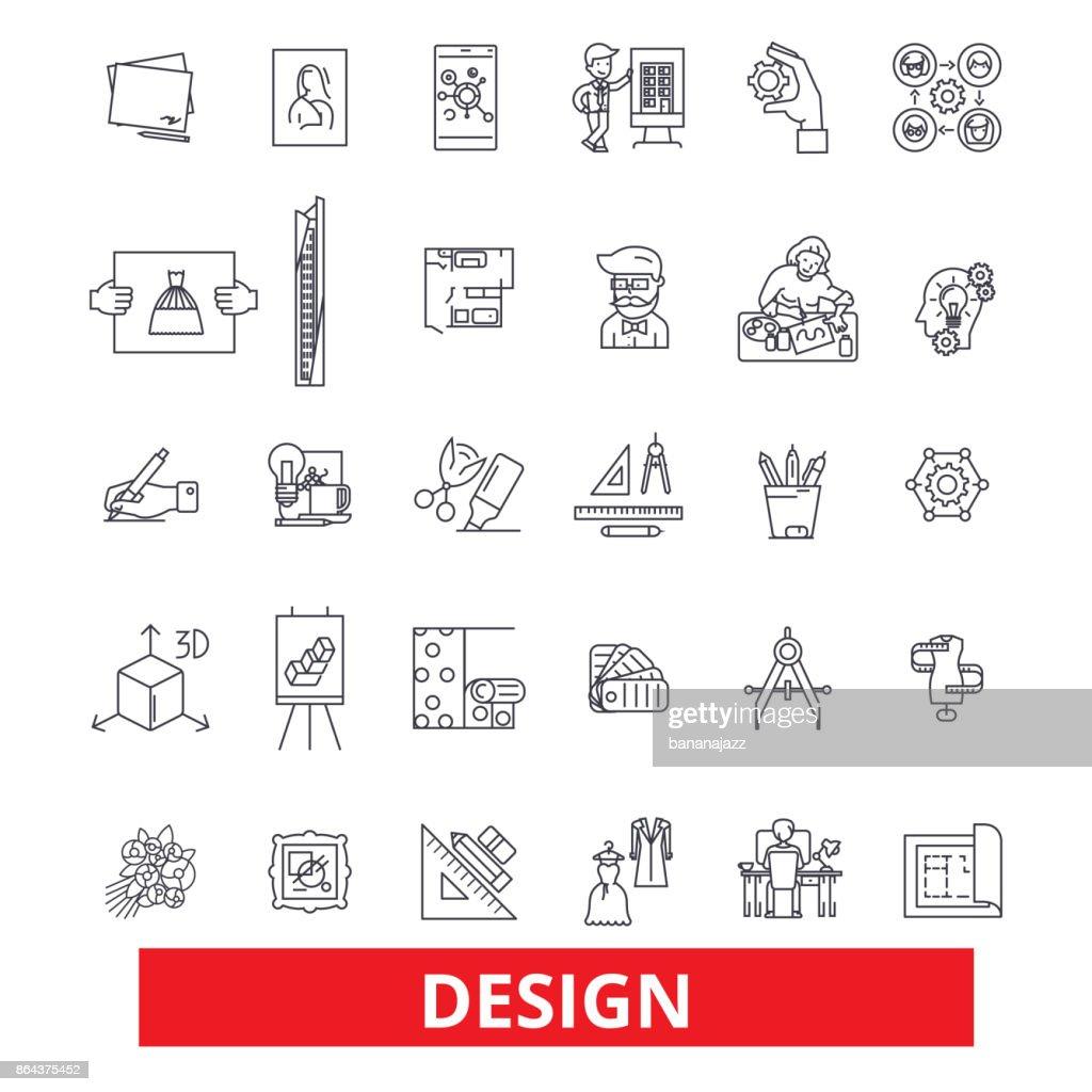 Design layout plan cover outline presentation style blueprint design layout plan cover outline presentation style blueprint development line icons editable strokes flat design vector illustration symbol malvernweather Images