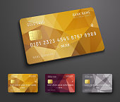 Design of a credit (debit) bank card with a gold, bronze and silver polygonal background