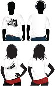Design of a man and a woman's t shirt