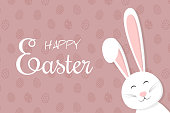 Design of a poster with easter bunny. Vector.